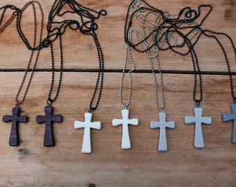 Wood Cross Necklace, Small Cross, Wooden Cross, Men's Cross Necklace, Women's Cross Chain, White Cross, Gray Cross, Rustic Cross, Christian
