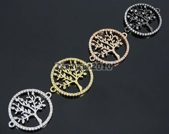 Clear Zircon Gemstones Pave Tree Of Life Bracelet Connector Charm Beads Gold Silver Rose Gold Gunmetal