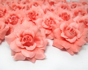 24 Orose mini Roses Heads - Artificial Silk Flower - 1.75 inches - Wholesale Lot - for Wedding Work, Make Hair clips, headbands