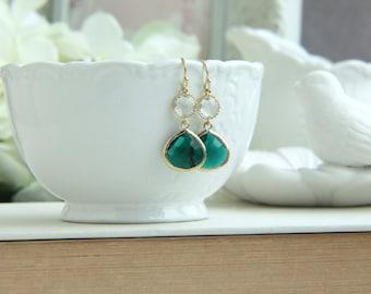 Emerald Green Earrings, Emerald and Gold Wedding, Emerald and Clear Glass Framed Earrings Dark Green Wedding, Bridesmaids Gift Green Wedding