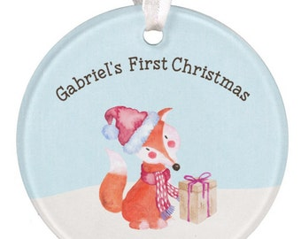 Boys Ornament Christmas Ornament Baby Ornament Fox Ornament 1st Christmas Ornament Boy Ornament Baby Shower Gift RyElle Baby Gift
