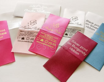 """Satin Labels. Clothing Labels.  Colour Ribbon 1 1/2"""" Personalized labels. Name Tags. Fabric Labels. Custom Fabric Labels"""