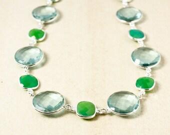 Aqua Quartz and Green Chrysoprase Necklace – 925 Sterling Silver
