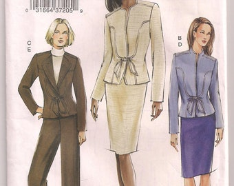 Misses Pattern Jacket Skirt Pants Vogue 7810 Hip Length Jacket Pattern Semi-fitted Straight Skirt Pants Pattern Office Wear Size 8 10 12