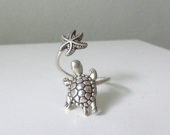 Silver turtle  shell ring, adjustable ring, animal ring, silver ring, statement ring