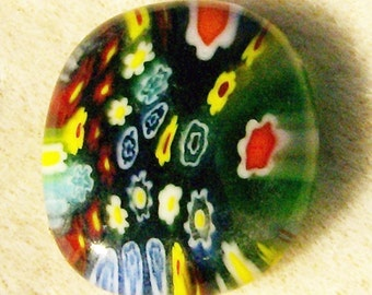 Fused Glass Cabochon - Colorful Floral on Green by JewelryArtistry - DC380
