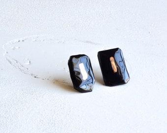 Ceramic geometric earrings,Ceramic stud earrings,stud earrings,geometric earrings,ceramic earrings,ceramic jewelry,boho earrings,girl gift