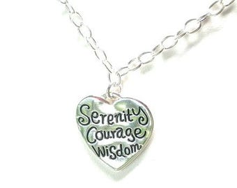 Serenity heart necklace, hammered silver plated, serenity prayer necklace, 12 Step program necklace gift, recovery, sobriety, abstinence