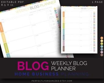 Weekly Blog Planner, Blogging, Mom Blogger    Pastel Editable Printable Planner DIY Pastel Organizer    Household PDF Printables