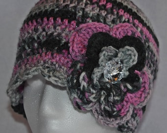 Hand Crocheted Women's Hat with Flower