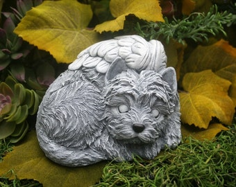 Terrier Angel Dog Statue, You Choose Eyes Open or Closed, West Highland, Westie, Cairn, Skye, Yorkshire, Yorkie, Mixed Breed
