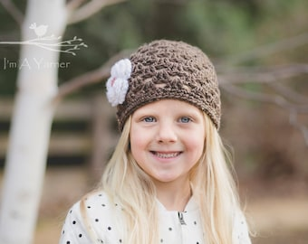 Crochet Hat, Baby Toque, Hats for Kids, Brown Baby Hat, Autumn Hat, Fall Hat, Winter Beanie, Hair Accessories, Head Covering, Baby Girl Hat