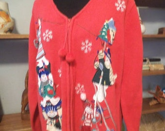 Vintage Christmas Cardigan Sweater ~ 1 X ~ Snowman Snowflakes Pom Poms ~ Christmas office Party
