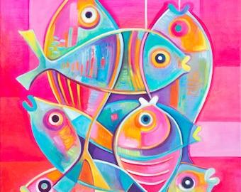 Cubist painting Abstract Art Original Oil canvas Fish Marlina Vera Modernist Cubism artwork Cubiste Poisson Pescado sale modernism fauve