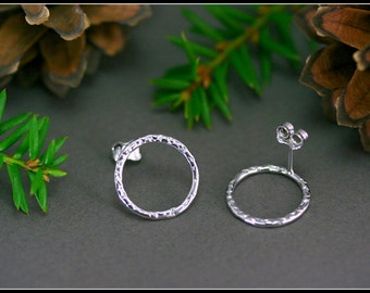 Hammered stud earrings, Large hammered circle studs, Medium circle earrings, Large rings posts earrings, Silver circle post, Modern hammered