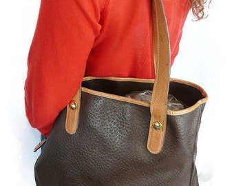 Stunning vintage LANCEL leather coated canvas tote * good condition