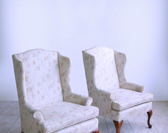 Sam Moore QUEEN ANNE PETITE Wingback Chairs Fireside Ladies Hollywood  Regency Chippendale Armchairs