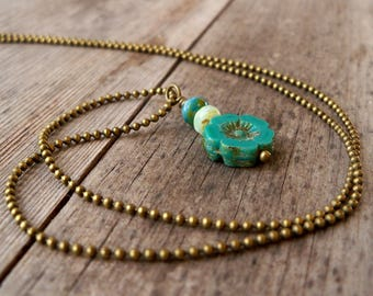 Handmade Necklace - Beaded Jewelry - Bead Necklace - Pendant Bead Necklace -  Layering Necklace -  Boho Necklace - Blue and Teal Series