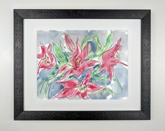Wild Pink Lilies - Original Framed Watercolor