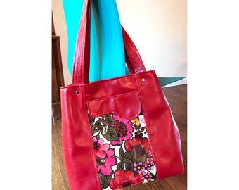 Vegan Leather, Vegan Bag, Leather Tote Bag, Tote, Shoulder Bag, Tote Bag, Diaper Bag, Boho Bag, Travel Bag, Red, Gift for Mom, Gift For her