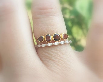Garnet 14K Gold Ring, Garnet Gemstone, January Birthstone, Garnet Band,Sterling Silver, Made to Order