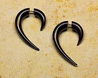 Fake Gauges, Handmade, Cheaters, Organic, Plugs, Split, Tribal Jewelry - Medium Hooks -  Black Horn Earrings - H12