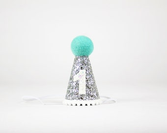First Birthday Hat for Cake Smash Outfit   1st Birthday Girl Outfit   First Birthday Outfit Girl   1st Birthday Hat Smash Cake   Silver Teal