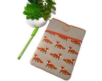 iPad mini Sleeve, Linen iPad Mini 4 Sleeve,  Padded iPad Mini pouch fox,  Fox ipad mini 1 2 3 4 case, iPad mini cover Foxes Pocket