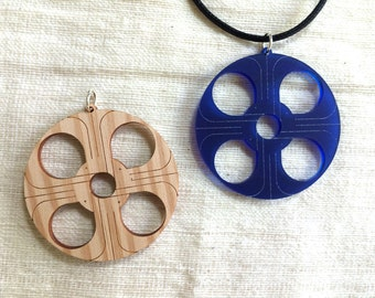 CLEARANCE Statement jewellery blue perspex wood GOD / ALLAH
