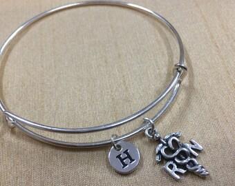 KIDS Size - RN charm bracelet - medical jewelry, nursing bracelet, silver nurse bangle, RN bangle, gift for rn, registered nurse jewelry