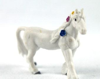 Miniature Unicorn Terrarium Figurine, Tiny white horse, Mini Fairy Garden Accessory