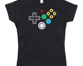 Ladies N64 Controller Joypad Buttons Tshirt
