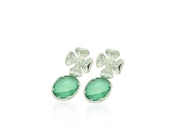Sterling Silver Flower Earrings, Mint Green Crystal Earrings, Green and Silver Wedding Jewellery, Silver and Green Bridal Party Jewellery