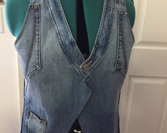 Demin Jacket Vest. Custom one of a kind, repurposed demin