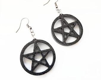 Black pentacle earrings, Glitter pentagram earrings, Witch earrings, Wicca earrings, Pagan earrings, Magick earrings, Supernatural earrings
