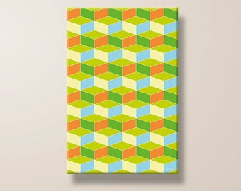 Cube, Geometric Design, Pattern, Abstract, Modern, Contemporary, Colorful, Giclee Print, Large Canvas, Art Print, Home Decor, Gift for Him