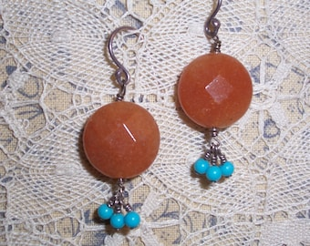 Handmade Carnelian and Turquoise and Sterling Silver Pierced Earrings