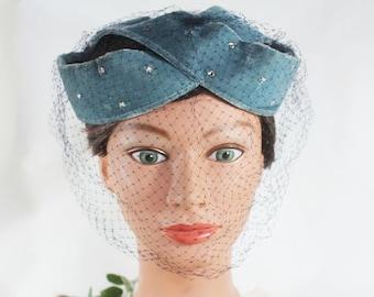 Blue Velour Vintage Hat with full Netting / Veil, Chin Net