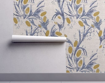Boho Thistle Wallpaper - French Linen Thistle By Holli Zollinger - Boho Custom Printed Removable Self Adhesive Wallpaper Roll by Spoonflower