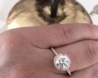 Brilliant Engagement Ring Rose Gold Ring in 14k Rose Gold with Diamond or Cubic Zirconia Halo