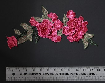 3d pink rose flower with green leaves