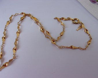 """Vintage 1960s Crown Trifari Necklace Delicate Gold Plated Chain, Excellent Condition, Gold tone, Shorter Necklace, 15 and 1/2"""" long"""