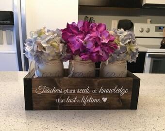 Personalized Teacher Gift   Teacher Appreciation   Teacher Retirement   Gifts for Teachers   Principal Retirement   Engraved Planter w/ Jars