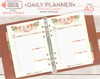 A5 Daily planner, printable pages, inserts, watercolor florals, bohemian feathers, instant download, schedule, to do list, 001OR BOHO peony