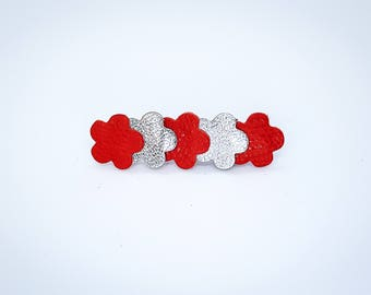 Silver and red leather Barrette