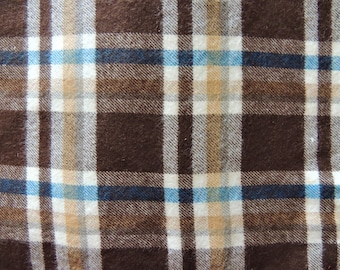 "1/2 YD - 44"" Brown & Blue Plaid Soft Flannel Fabric"