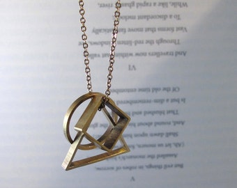 Convex - Brass Geometric Necklace with Triangle, Circle and Square Pendants on Short or Long Chain Gift (Collier Géométrique) by InfinEight
