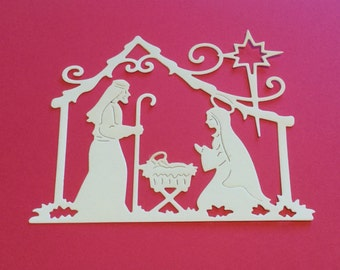 "DID CUTS -  Nativity/Manger - One Dozen - Choose Colors -  Nativity measures  3.25"" x 3.75"""