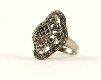 Vintage Scroll Design Marcasite Inlay Ring 925 Sterling Silver RG 1329