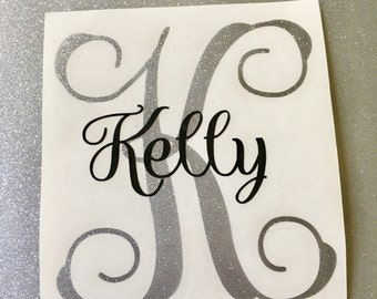 Personalized Monogram Vinyl Decal- Elegant Vinyl Monogram